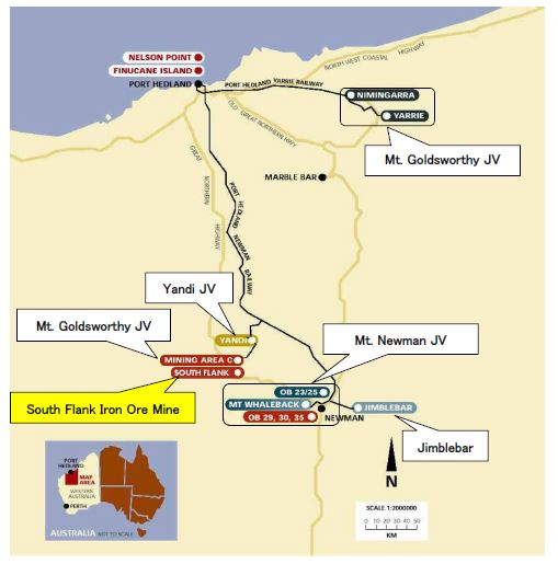 Map showing South Flank iron ore project in Australia