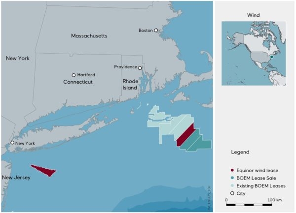 Map showing the new offshore wind lease won by Norwegian energy company Equinor