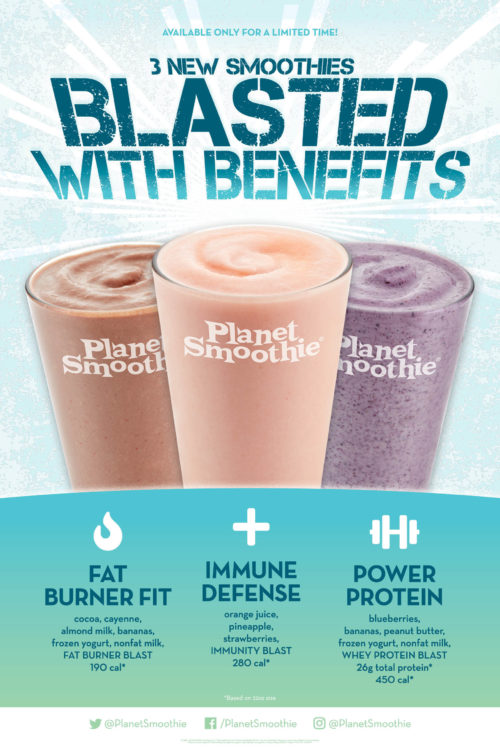 The new Blasted with Benefits smoothies from Planet Smoothie are available until 28 April 2019.