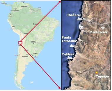 Map showing the Mantoverde copper mine in Chile