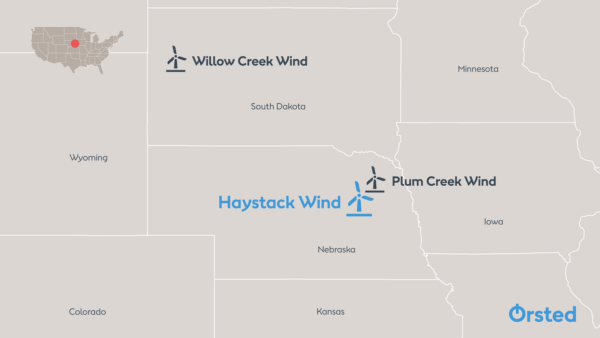 Map showing location of Haystack Wind project