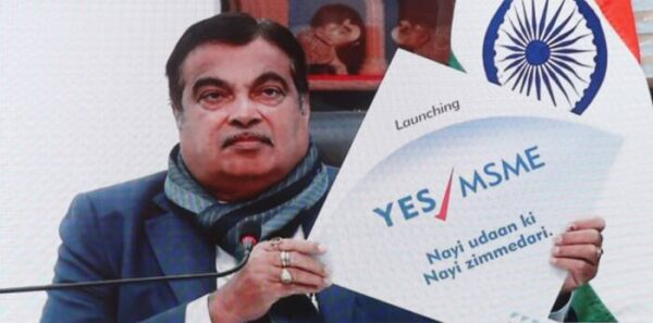 Indian minister at the launch of Yes Bank's Yes MSME finance solution.
