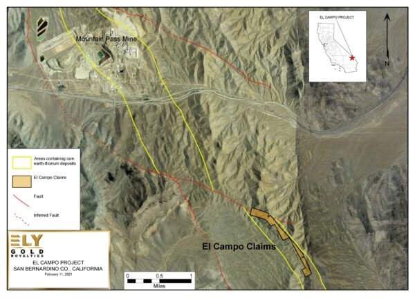 Map showing the El Campo project in California.